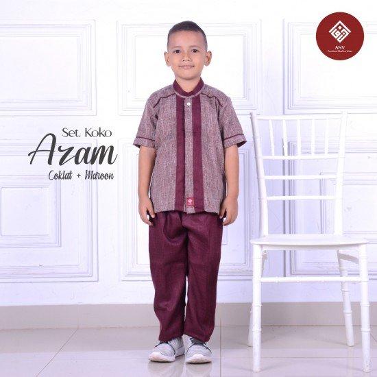 Baju Koko Anak Azam Series Coklat - Maroon