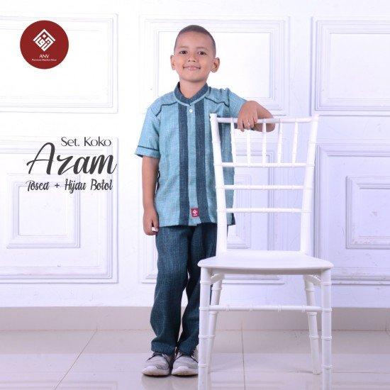 Baju Koko Anak Azam Series Tosca - Hijau Botol