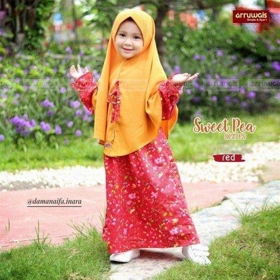 Gamis Anak Sweet Pea Red