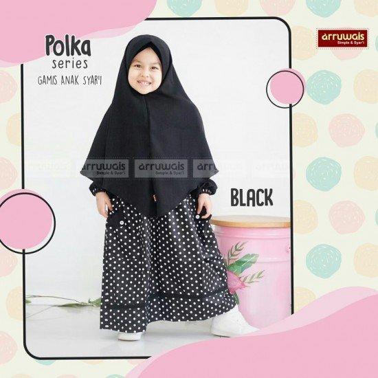 Gamis Polka Anak Black - Arruwais