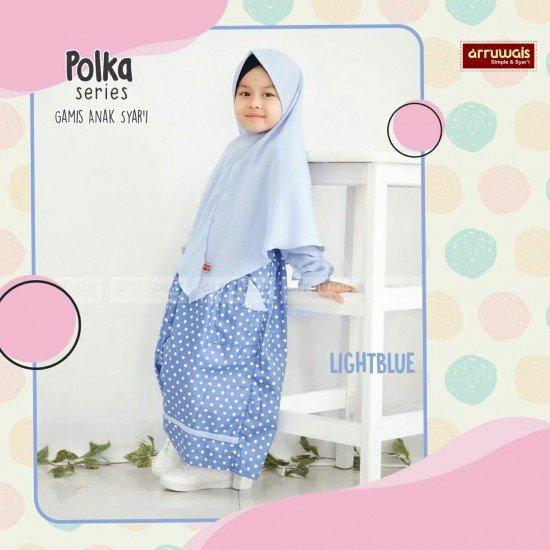 Gamis Polka Anak LightBlue - Arruwais