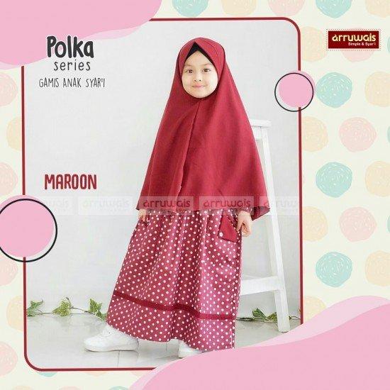 Gamis Polka Anak Maroon - Arruwais