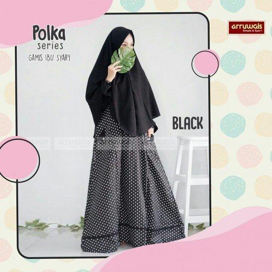 Gamis Polka Ibu Black - Arruwais