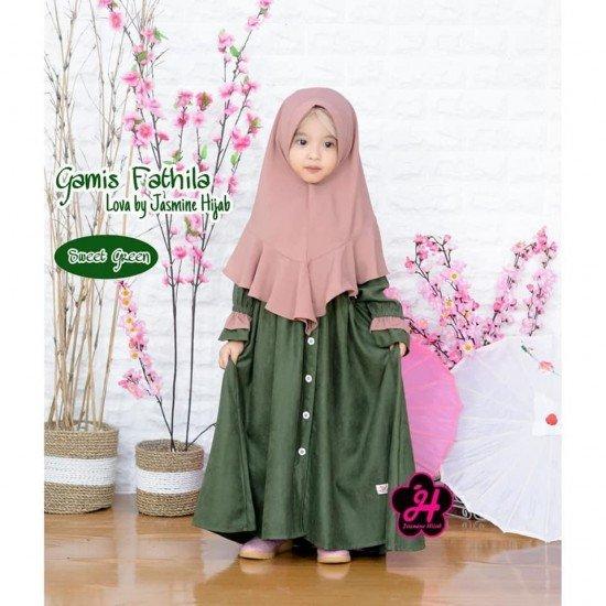 Gamis Anak Fathila Lova Sweet Green