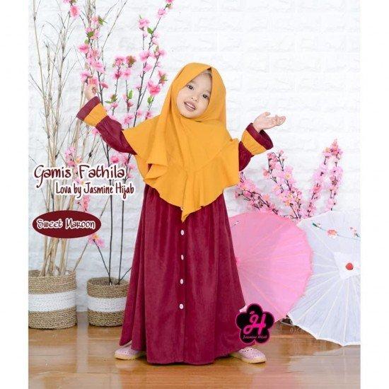 Gamis Anak Fathila Lova Sweet Maroon