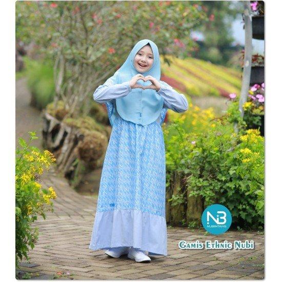 Gamis Remaja Ethnic Teen Biru Muda