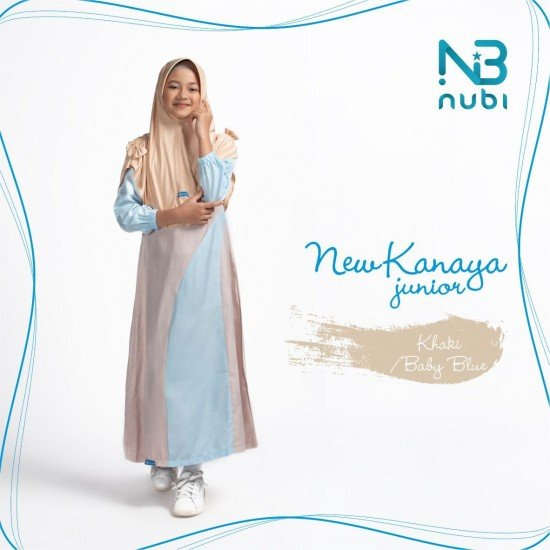 Gamis Remaja Set New Kanaya Junior Khaki - Baby Blue
