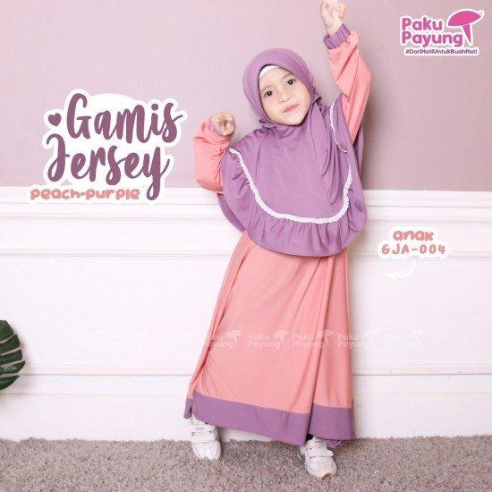 Gamis Anak Jersey Peach Purple GJA-004