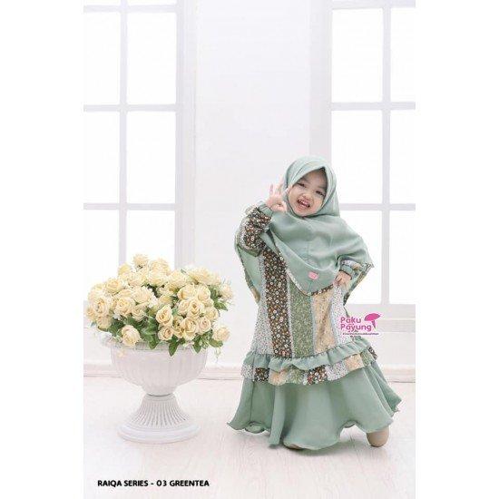 Gamis Anak Raiqa Series Green Tea