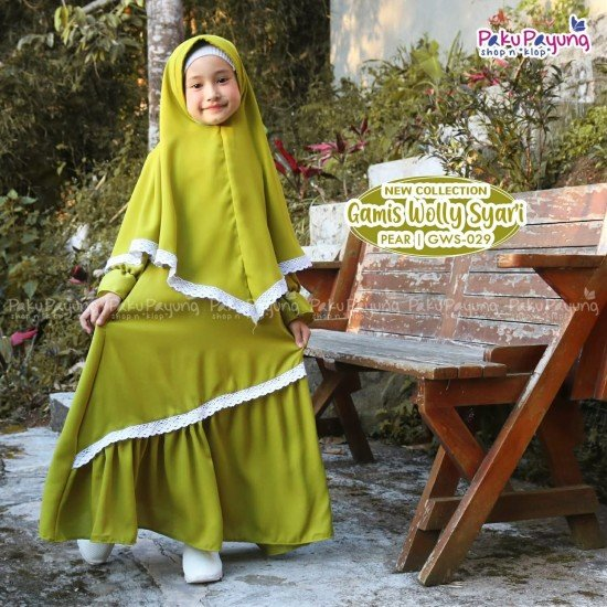 Gamis Anak Wolly Syari Pear GWS-029