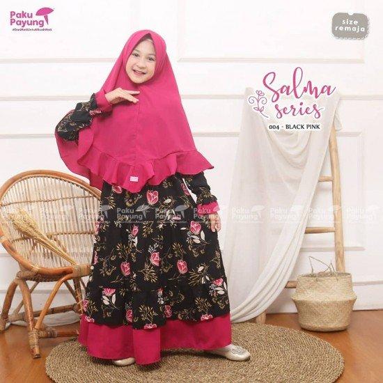 Gamis Remaja Salma Series Black Pink
