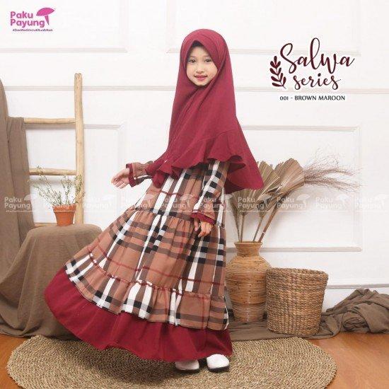 Gamis Remaja Salwa Series Brown Maroon