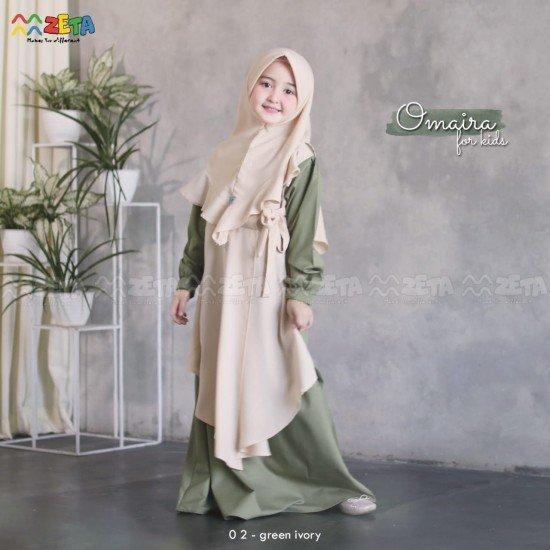 Gamis Anak Omaira Series Green Ivory